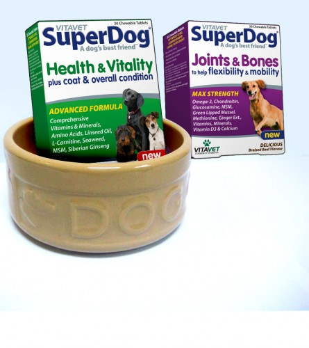 5 Sets Of Vitavet SuperDog Vitamins And A Mason Cash Dog Bowl To Win!